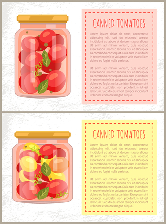 Ensemble d'affiches de nourriture de tomates en conserve avec texte modifiable. Conservation de légumes de différents types. Accompagnement d'aneth et de feuilles au vecteur de cornichons Vecteurs