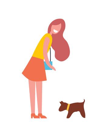 Vrouw wandelen met hond huisdier pictogram. Lachende dame met handtas op schouder wil puppy knuffelen. Hondszoogdier met kraag op nek geïsoleerde vector icon
