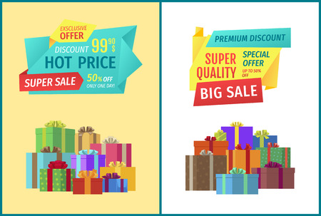 Premium big discount hot prices set. Special sales exclusive offer form stores. Gifts in squared boxes with ribbons decoration of presents vector