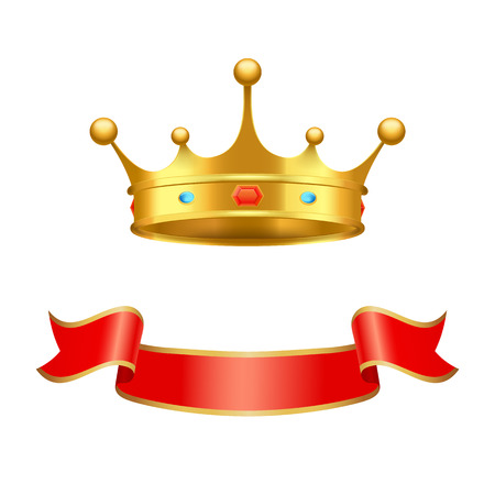 Crown majestic headdress and ribbon vector decorative element. Golden tiara with precious stones inlaid as symbol of supreme power isolated icon.