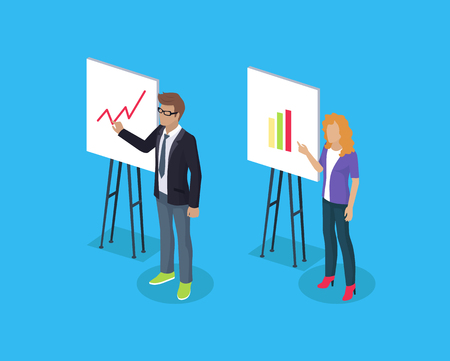 Businessman and lady on 3D isometric presentation, man and woman in official clothing standing near charts with statistical data, vector illustration 일러스트