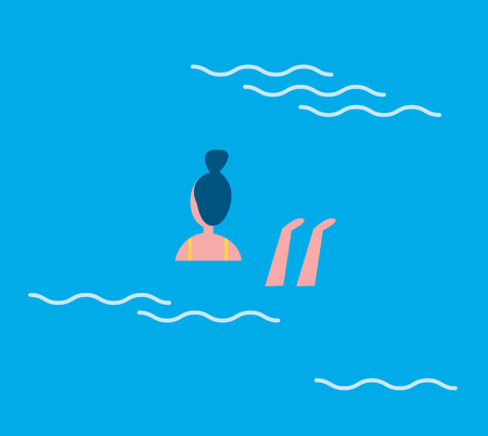 Woman swimming in blue water with waves. Relaxation and refreshment on holidays female floating in basin. Active lifestyle and hobby of person vector