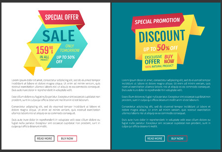 Sale Special Offer Posters Set Vector Illustration 스톡 콘텐츠