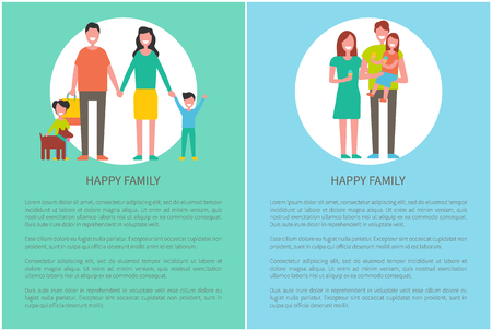 Happy Family Posters with Text Vector Illustration