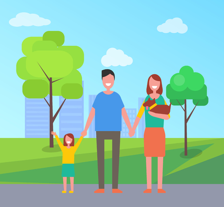 Family Parents with Kid in Park Vector Illustration