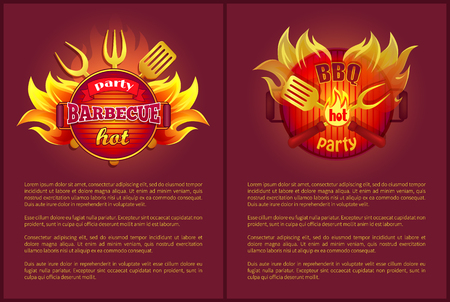 Hot Barbeque Party Vector Posters Burning Badges Stock Photo