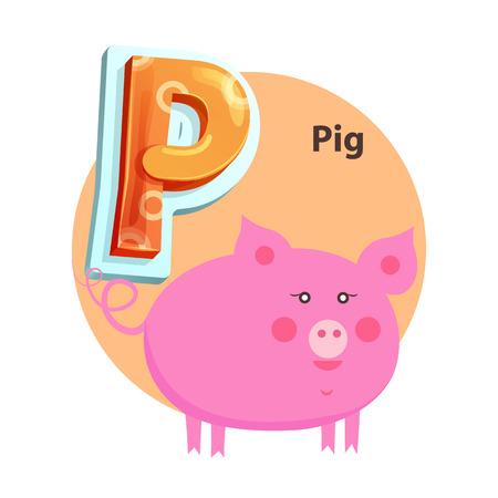 Cartoon Pig is for P Letter Children Zoo Alphabet