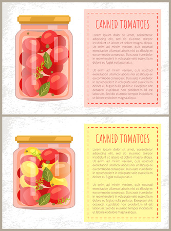 Canned Tomatoes Food Set Vector Illustration
