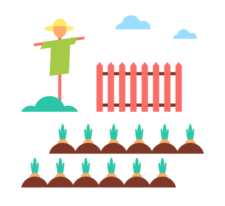 Scarecrow Field Protector Set Vector Illustration