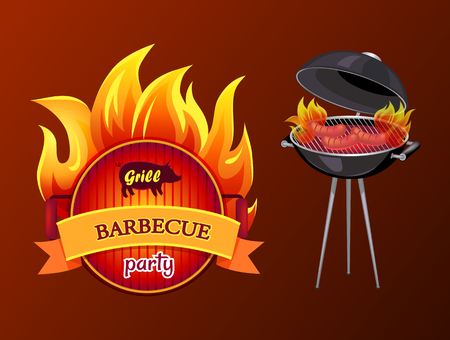 Grill party barbecue and roaster with grill grid and sausages on fire. Frying pan with fire and text isolated icon vector. Brazier with frankfurters
