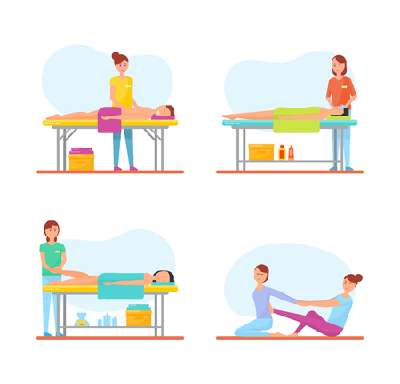 Massage treatment of patients isolated icons vector. Back and facial, foot relieving techniques, body care be masseuse using aroma candles relaxation