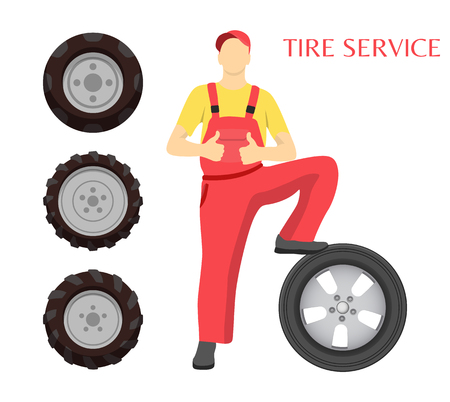 Tire service poster with man vector. Isolated icons of rubber car wheels and workman in uniform wearing cap and showing thumbs up. Repairing male