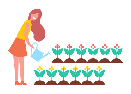 Woman working in garden with flowers, cartoon icon. Lady pouring plants in garden beds from watering can, isolated vector emblem, hand drawn banner