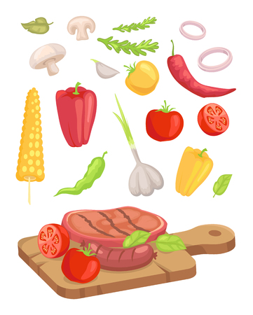 Meat served on board isolated icons set vector. Vegetables and roasted steak mushroom and corn. Garlic and pepper onion rings and herbs paprika veg Standard-Bild - 127221944