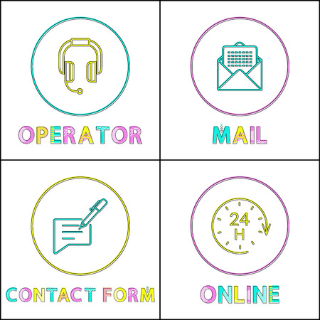 Operator icon posters set and colorful headlines. Supporting services for people, contact info paper with pen to fill it, online vector illustration