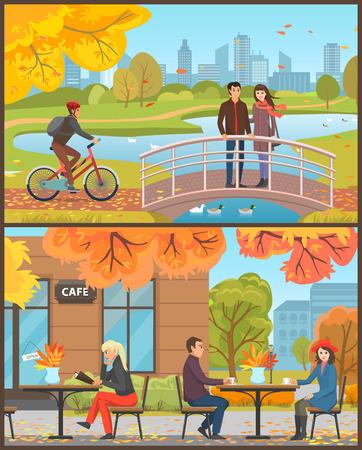 Café avec des clients assis à l'extérieur du vecteur défini. Couple buvant du thé ou du café chaud, femme et menu. Cycliste avec casque à vélo, pont et lac Vecteurs