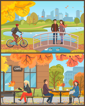 Cafe with customers sitting outside set vector. Couple drinking hot tea or coffee, woman and menu. Cyclist with helmet riding bicycle, bridge and lake
