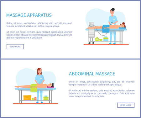 Massage apparatus and abdominal treatment performed by masseuses vector. Posters set with male and female clients in tables. Machinery for back care