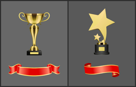 Trophies and Red Banners Set Vector Illustration Illustration