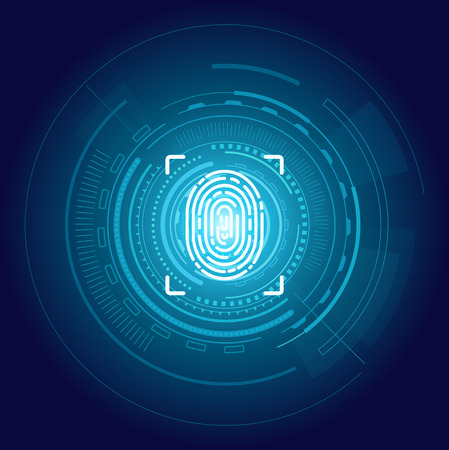 Screen with print for people to access data. Verification and validation scanning. Identification fingerprints poster with blue glowing digital art backdrop Illustration