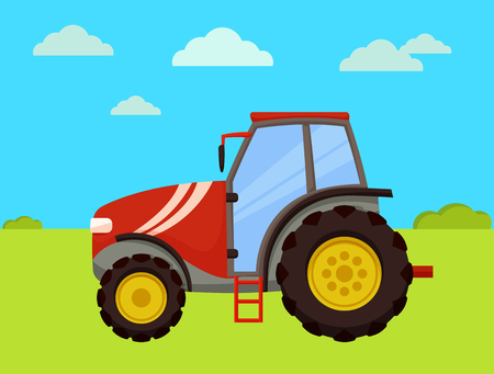 Tractor machinery of farm on field. Machine used in farming and husbandry. Agro automobile with big wheels driving on land with green grass vector