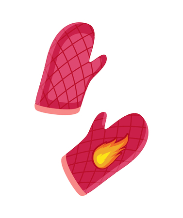 Couple of oven-glove, vector badges in cartoon style. Mitten of dense tissue with rhombus and flame pattern, isolated kitchen accessories emblems Ilustracja