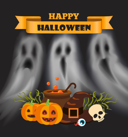 Happy Halloween Poster with Text Pumpkin Vector Illustration