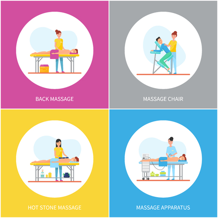 Back massage and apparatus equipment for skin and body care icons set vector. Treatment and healthcare improvement, table and chair hot stones method