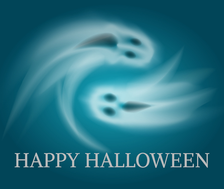 Happy Halloween swirling sad and angry apparitions poster with text vector. Horror and spooky creatures living at night. Horror poltergeist character Illustration
