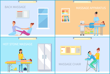 Back Massage Therapy Specialists Posters Vector