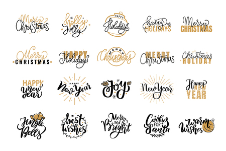 Merry Christmas Festive Lettering Icons and Signs Vector Illustration
