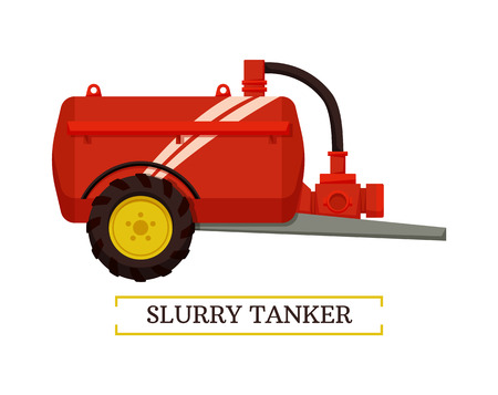 Slurry tanker machinery isolated icon vector and text. Device with reservoir and tube for gathering waste and organic matter. Equipment for liquids