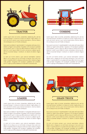 Agricultural machinery set cartoon vector banner. Combine with wide reaper and small compact tractor, loader and grain truck, farming technique poster