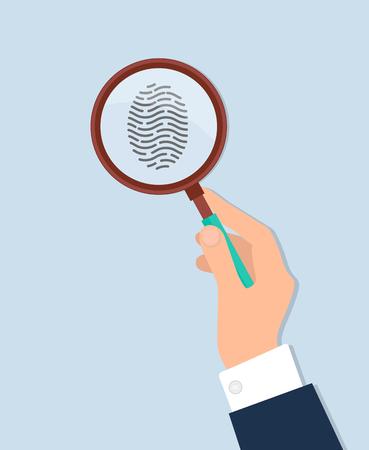 Human hand holds magnifying glass and investigate fingerprint vector isolated on white. Criminalistics concept illustration, instrument for investigation Illustration