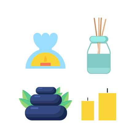 Candle and stone, oil and sticks for spa and massage cartoon banner vector icons set. Candlestick with flame inside and wooden wands in glass jar