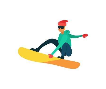 Man snowboarding winter sport activity isolated on white. Vector illustration of snowboarder, extreme skiing male jumping on board at high speed