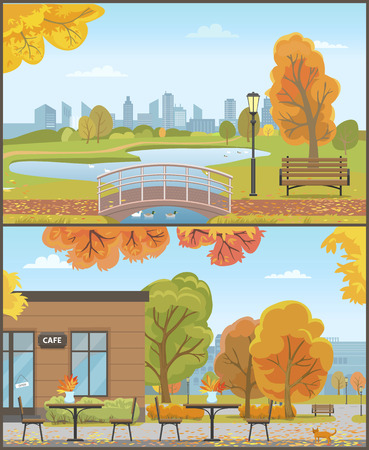 Autumn Parks with Bridge over Pond and Cozy Cafe