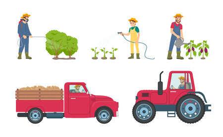 Tractor and lorry with load transporting vehicle. Man with sprayer and woman with watering hose by plantation of vegetables. Aubergine care vector Archivio Fotografico - 113004459