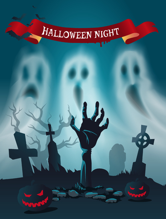 Happy Halloween Scary Cemetery Poster Text Vector Ilustração