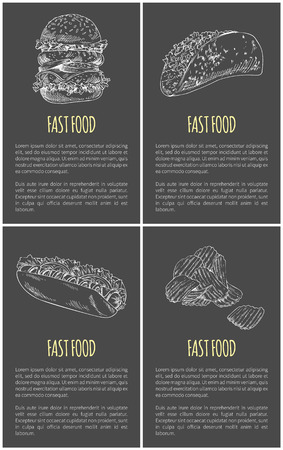 Fast food poster with hamburger or cheeseburger, mexican taco and burrito takeaway, potato chips sketches. Hand-drawn foodstuff with text sample. Illustration