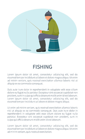 Winter Fishing, Fisherman with Rod on Ice Icon