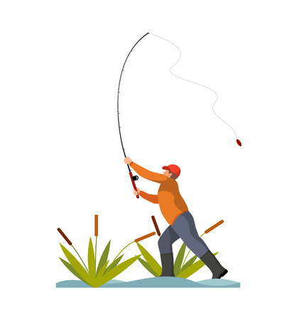 Man throwing road color banner isolated on white vector illustration of professional fisherman in fishing process, abstract pond with green reeds
