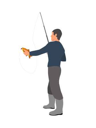 Full length gray clothed fisherman with fishing rod vector model catching a small fish. Fishery theme illustration on white for magazine or site. Illustration