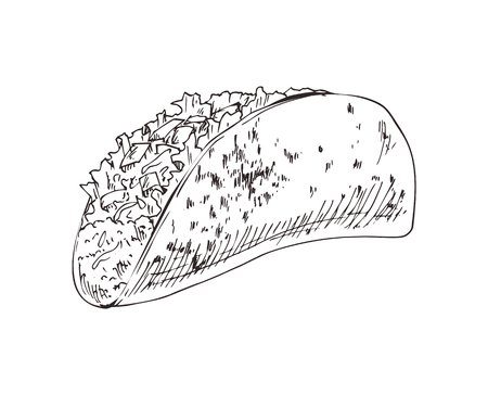 Taco burrito monochrome sketch outline. Mexican take away product, fast food meal isolated on white. Wrapped stuffing in bread vector illustration 写真素材 - 127221974