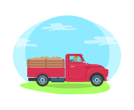 Car with trailer transportation of farming agricultural production. Isolated vector with man sitting in lorry transporting cargo and load on road Illustration