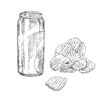 Fast food icons set in sketch style. Crispy wavy potato chips and soda can monochrome hand drawn illustration isolated on white. Concept for snackbar.