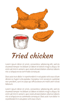 Fried chicken served with ketchup sauce in bowl poster. Drumsticks fatty and oily meal. Roasted poultry meat and tomato accompany vector illustration Иллюстрация