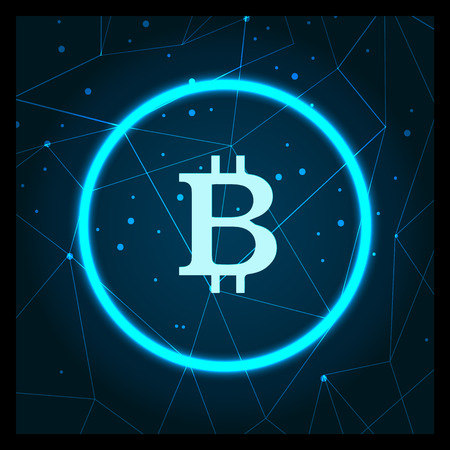 Bitcoin cryptocurrency digital art icon vector. Blockchain technology mining and getting profit benefit from virtual money. Finance and banking online