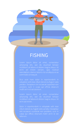 Fishing poster or flyer with man on river or lake back and text. Vector fisherman in fishery overall with big predatory pike fish in hands isolated. Illustration