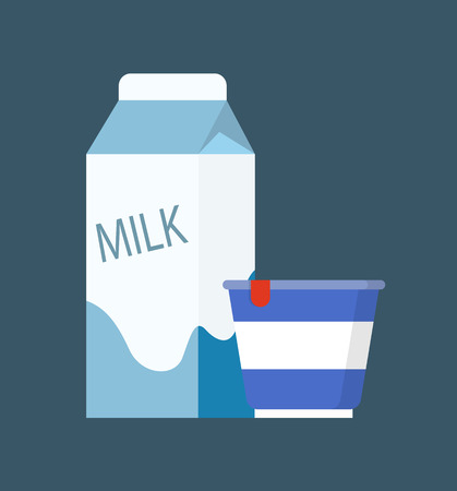 Milk dairy, product in carton package and sour cream in plastic container. Isolated icons set of meal full of vitamins, pasteurized production vector